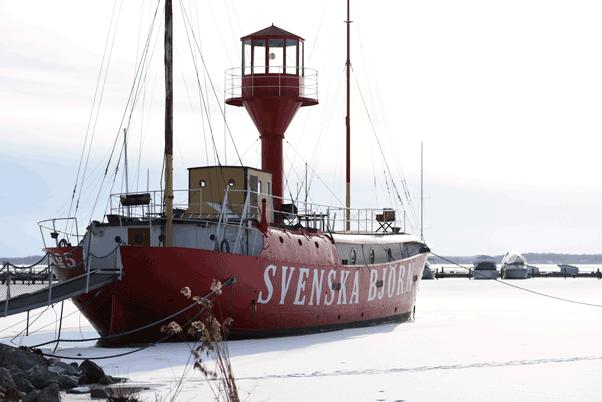 Boot im Hafen von Västerås