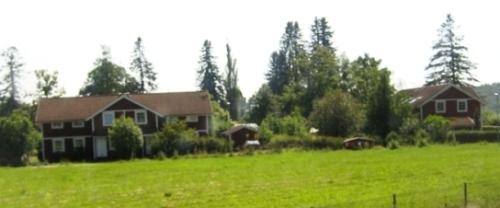 Das klassische rot-weiße schwedische Holzhaus
